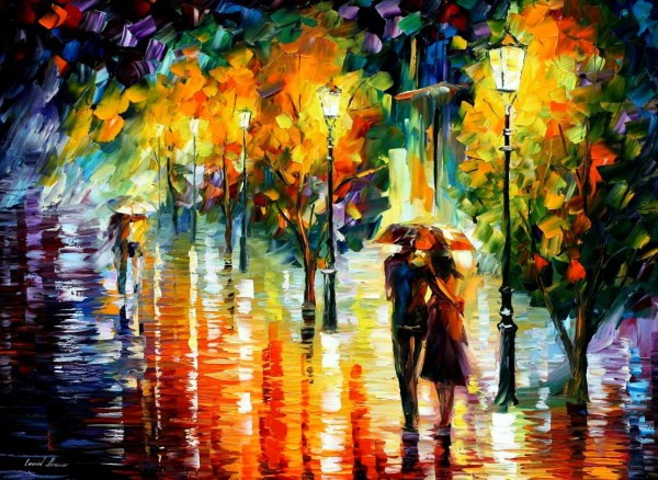 Leonid Afremov. Doi in ploaie